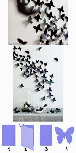 DIY Tutorials: DIY Home Decor Tutorials- this would be beautiful for a little girl's room someday!: Ideas, Art, Diy Craft, Wall Decoration, Butterfly Wall, Paper Butterflies, Crafts