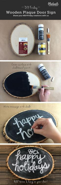 DIYFriday Wooden Plaque Door Sign - customizable for holidays: Christmas Wooden Sign, Diy Christmas Sign, Diy Wooden Sign, Chalk Board, Wooden Plaque, Wooden Door Sign, Diy Wooden Christmas Sign