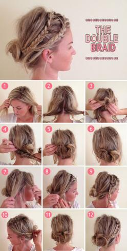 Double braid tutorial.. APRIL!!!: Hairstyles, Messy Bun, Double Braid, Hairdos, Hair Styles, Hair Do, Updo