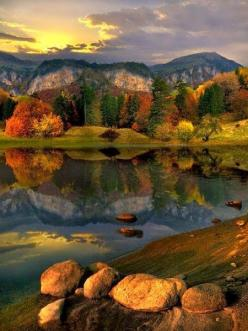 Early autumn in Bulgaria   - Explore the World with Travel Nerd Nici, one Country at a Time. http://TravelNerdNici.com: High Mountain, Reflection, Mountain Lakes, Favorite Places, Nature, Montana, Beautiful Places, Travel, Photo