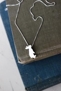 Everybody needs somebunny to love. #etsy #jewelry #bunny: Anime Earrings, Sterling Silver Necklace, Animal Earrings, Acc Necklace, Necklaces Earrings