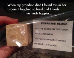 Exercise block…: Gift, Stuff, Funny, Funnies, Humor, Walk, The Block, Exercise Block