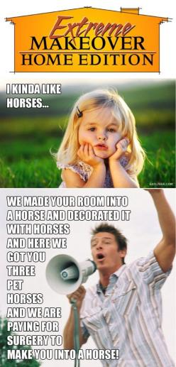 Extreme Makeover // HA!!! It's so true... I always feel kinda bad for the kid 5 years down the road with the insane bedroom. But hey, I'd take it if it meant an awesome new house :): Giggle, Extreme Makeover, Horse, Funny Stuff, So True, Humor, Fu