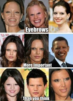 Eyebrows DO matter...go to a shop that just do eyebrows..they can help with face enhancement.  If not..follow the eyebrow guide- and try heavy concealer where it looks like there should be no brows...then use an eyeshadow around the right color and fill i