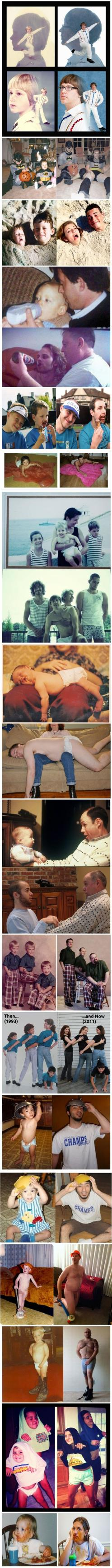 Family Photos Then and Now.  They always make me laugh harder than they probably should!: Idea, Giggle, Family Photos, Photo Recreation, Funny Stuff, Funnies, So Funny, Hilarious