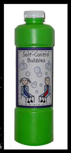 First, he blows some bubbles and, as expected, the kids all pop them.  Then, he challenges them to NOT pop the bubbles even if one lands on the tip of their nose.  Introduce the concept of self control and launch a discussion about stopping to think befor