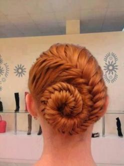 French fishtail braid pinned up: Hair Ideas, Hairstyles, Hair Styles, Makeup, French Fishtail Braid, Fishtail Braids, Beauty