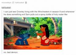 [GIF] omg im like dying CAN THIS HAPPEN AT LEAST ONCE PLEASE (Dean would have a pet angel, and Sam can have a pet demon^.^): Demons, Supernatural ️, Demon Dean, Stuff, Lilo And Stitch, Supernatural 3, Funny, Fandom, Bad Demon