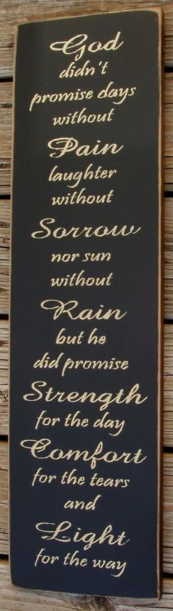 God didn't promise primitive wood sign by pattisprimitives on Etsy. $26.00 USD, via Etsy.: Truth, Quote, Didn T Promise, Thought, God Didn T, So True, Gods Promises, God S Promises