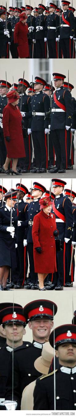 Grandma inspecting troops...and grandsons...: Grandma Funny, Funny Shit, Queen Of England Funny, Funny Random Ideas, The Queen Funny, Pretend, Don T, Funnies, Queen Elizabeth Funny