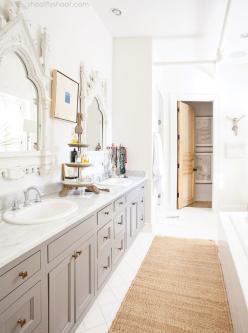 gray vanity, antique brass knobs, ornate distressed white mirrors: White Mirror, Antique Mirrors, Gray Cabinets, White Bathrooms, Master Bathroom, Gray Bathroom, Bathroom Gray