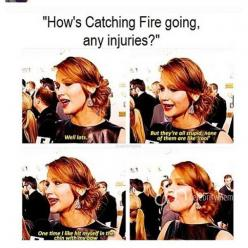 """Hahaha. At least josh didnt get knocked out again. That's still my fave thing to say. """"She seems so poised and coordinate on camera but she kicked josh in the head and concussed him!"""": Jenniferlawrence Fu, Jennifer Lawerence, Hungergames, Jlaw"""