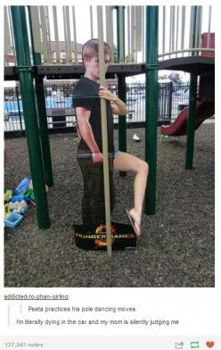 HAHAHAHAHAHAHAHA>>>this is hilarious, but is nobody acknowledging the fact somebody brought a cardboard Peeta to the park?! ~Bailey (Killjoy1719): Funny Things, Funny Pictures, Peeta, Pole Dancing Moves, Hunger Games, Funny Stuff, Hungergames, Fu