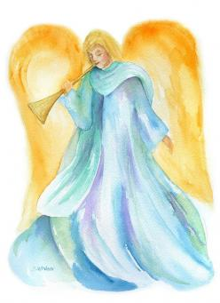 Herald Angel - Christian Christmas Cards - Watercolor Painting - Art: Watercolor Angel, Watercolor Christmas Cards, Watercolors, Watercolor Cards, Painting, Angel Watercolor