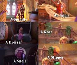 Hidden Tangled Things  A Spindle - Sleeping BeautyAn Apple - Snow WhiteA Dresser - Beauty and the BeastA Rose - Either referencing Briar Rose or the Rose from Beauty and the Beast, not sureA Shell - The Little MermaidA Slipper - Cinderella: Disney Movies,
