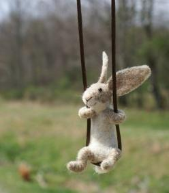 Hilarious felted bunny necklace @Bettine Kruijf Want one?: Rabbit, Craft, Bunny, Smile, Bunnies, Happy Easter, Animal