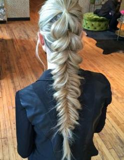 How-To: Pull-Through Pony into Fishtail | Modern Salon: Braided Updo, Long Hair Style, Hair Tutorial, Long Hair Braid, Edgy Hairstyle, Ponytail Braid Hairstyle