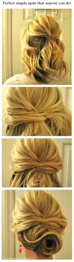 I actually like the first picture - creating volume by teasing the top of the hair, leaving it half up/half down, & pinning it in the back: Simple Updo, Short Hair, Wedding Hair, Hairstyles, Hair Styles, Updos, Hair Updo