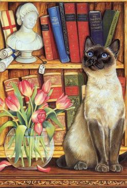 I believe that Cicero had it nearly right, but merely missed a few details... If you have a library, a garden, a coffee pot, a comfortable chair, some way to listen to music, and at least one cat, you have your own private heaven.: Cat Art, Artist Info, S