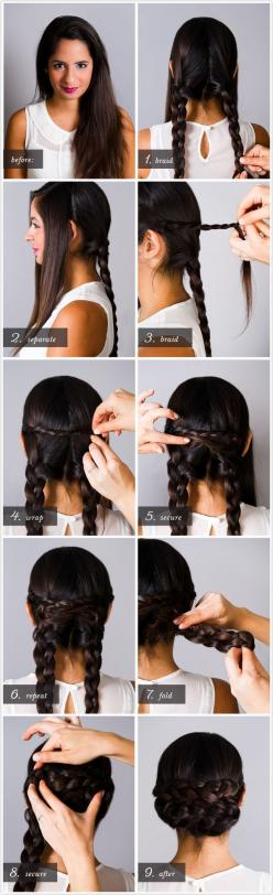I have much shorter hair, and I've been rocking this for 2 days now. Super easy, and I even started the two smaller braids along the front and just left out my bangs to keep it from looking too young. Start to finish, it took about 20 minutes.: Hairst