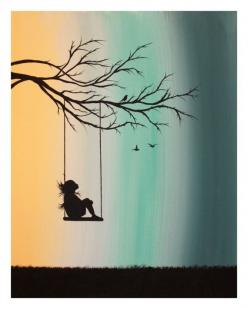 I have titled this piece Peppermint Swing. This is an original painting. In this painting, a young girl is nestled on her swing, looking up: Art Drawing Idea, Abstract Acrylic Paintings, Girls Drawing, Young Girl, Inspirational Drawing Idea, Silhouette Dr