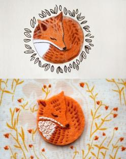 I like the idea of making cute little felt pins for friends for X-mas...little birds, owls, foxes, bugs...personalized for each friend. It would take time, but it would be so fun!: Craft, Idea, Felt Pin, Diy Brooch, Felt Broach, Felt Brooch, Felt Fox, Fox