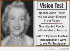 I took my glasses off & saw Marilyn! This is very neat!! Even though Ive pinned it twice already!: Visiontest, Marilyn Monroe, Stuff, Vision Test, Random, Funny, Optical Illusion, Eye