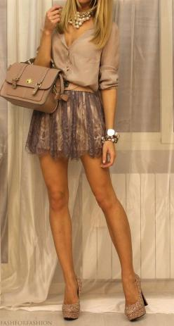 I want this outfit.: Fashion, Style, Dream Closet, Color, Dress, Cute Outfits, As, Lace Skirt, Longer Skirt