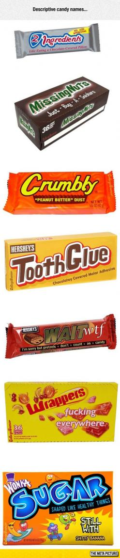 If Candy Had Descriptive Names: Giggle, Candy Bars, Funny Pictures, Truth, Funny Stuff, Funnies, Descriptive Names, Candy Names