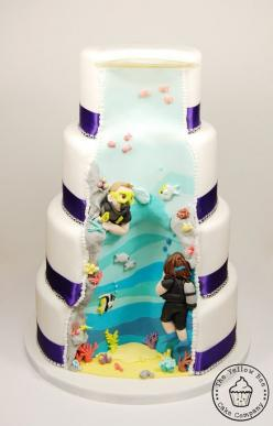 It's a surprise cake.: Scuba Diving Cakes, Scuba Cake, Scubas, Amazing Cakes, Surprise Cake, Food, Cake Ideas, Bee Cakes, Wedding Cake