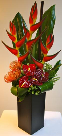 Jordan: A tropical mix of Orange Birds of Paradise, Orange Pin Cushions, Red Anthurium complimented with Green Tropical Leaves in a tall black ceramic vase.: Tropical Flower Arrangement, Beautiful Flower, Flower Arrangements, Floral Arrangement, Bird Of P