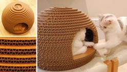 Kamakura's Lair Cat Bed from Japan: Cat Furniture, Cardboard Cat House, Pets Cats, Cat Crafts, Cat Houses, Cat Stuff, Diy Cat, Cardboard Crafts