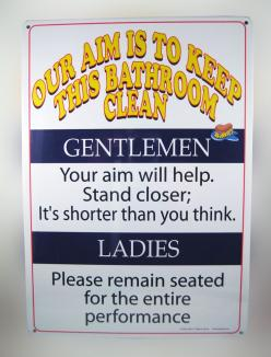 "KEEP THIS BATHROOM CLEAN TIN SIGN..... A crazy ""Bathroom"" notice that is hilariously funny. 8 1/4 x 11 1/2 tin sign that looks great in any bathroom. Entertain your guests and family. www.theonestopfunshop.com: Bathroom Clean, 11 1 2, Crazy Bathro"
