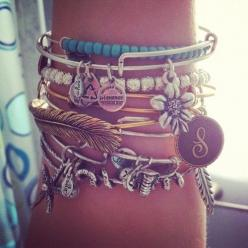 layered bracelets.. most you can make on your own. anything that has symbols, jewels, old jewlery laying around.. gather them up and put them randomly on bracelets.: Arm Candy, Fashion, Style, Bracelets, Alex And Ani, Jewelry, Alex Ani, Accessories, Alex