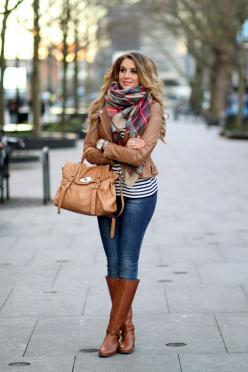 Light brown leather jacket, plaid scarf, and riding boots.: Fall Style, Winter Style, Womens Winter Fashion Outfit, Womens Fall Fashion Outfit, Fall Winter Outfit, Fall Outfit