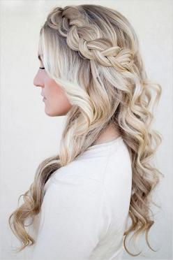 long braided wedding hair with loose curls: Wedding Hairstyles Braid, Wedding Hair Idea, Wedding Hair Braid, Blonde Hair Style, Long Loose Curl
