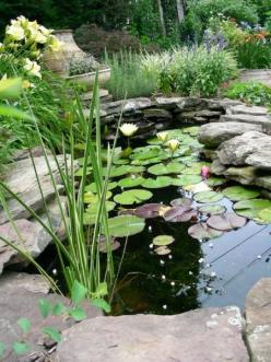 Looks exactly like Uncle Alan's masterpiece.  This will be the first project after the fence goes up.: Pond Ideas, Garden Ideas, Water Gardens, Water Features, Garden Ponds, Backyard