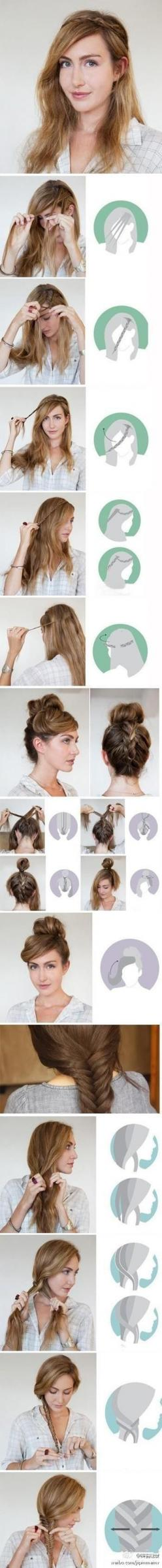 (love the 2nd updo!) Fashion Worship | Fashion website with pictures of fashion design, women fashion, women apparel | Page 2: Hair Ideas, Hairstyles, Hair Tutorials, Hairdos, Hair Styles, Long Hair, Hair Do