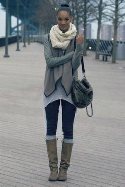 Love the knee high socks and boot combination, as well as the layering on top.: Fashion, Street Style, Knee Highs, Fall Outfit, Knee High Socks, Fall Winter, Boot Combination, Stylish Outfit, Top