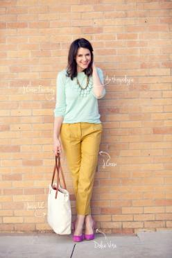Love these fresh and vibrant, yet mostly subtle colour palette, via Kendi Everyday.: Mustard Pants, Fashion, Style, Color Combos, Colors, Work Outfit, Color Palette, Color Combination