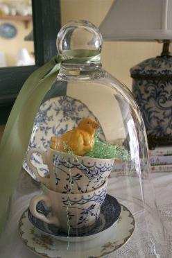 Love this!  My cat eats plastic Easter grass so I always have to keep it in a container.  Super cute idea with the tea cups as a birds nest!: Bell Jars, Romantic Homes, Easter Decoration, Tea Cups, Happy Easter, Spring Easter, Easter Spring, Easter Ideas
