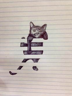 <3 Do a drawing using every other line of the paper . . . Lizard coming through the blinds? Snake? Possibilities!!!: Cats, Drawings, Art Drawing, Doodle, Cat Drawing, Cat Illustration, Awesome Drawing