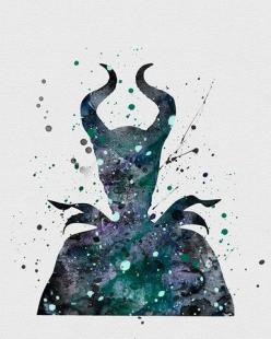 Maleficent 2 Watercolor Art - VividEditions: Disney Watercolor Tattoos, Disney Watercolor Art, Disney Princess Tattoo, Disney Tattoo, Disney Water Color Art, Water Color Tattoo, Disney Art Watercolor, Disney Watercolors, Disney Princess Watercolor
