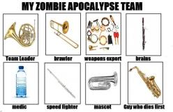 marching band memes | password likes at anthony on bored jonathan vocalist album this: Apocalypse Team, French Horns, Marching Band, Band Stuff, Band Geek, Band Nerd, Band Humor, Zombie Apocalypse