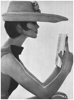 Model Marola Witt reading in hat made to block the sun. Photo by Tom Palumbo. Vogue, July 1, 1961.: Toms, Vogue, Hats, Book, Model Marola, Tom Palumbo, Photo, 1961, Marola Witt