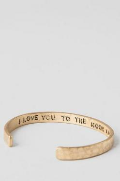 Moon and Back Engraved Bangle: Gift, Engraving Jewelry, Boyfriend, Cute Jewelry For Girls, Francescas Jewelry