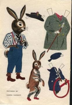 Mr. Bunny - I think it is great to find cute illustrations from old books and magazines and frame them for a kids room. Fun original art.: Rabbit, Vintage Paper, Craft, Printables Paperdolls Animals, Paper Dolls, Bunny Paperdoll, Illustration, Lapin, Bunn