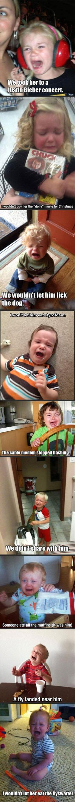 My son had a mental breakdown when his Dad picked up a paci off the floor and handed it to him.: Funny Parent, Baby Crying Funny, Funny Kids Humor, Babies Crying Funny, Funny Baby, Funny Kids Crying, Kids Crying Funny, Reasons Kids Cry Funny