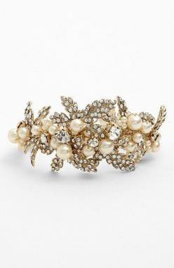 Nina 'Hallie' Faux Pearl & Crystal Bracelet available at #Nordstrom heres a gold and pearl bracelet: Crystals Illuminate, Nordstrom, Bracelets, Allover Crystals, Nina Hallie, Faux Pearls, Hair