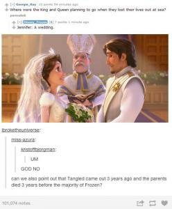 Omg! So the king and queen from frozen we're going to the movie Tangleds wedding... Then they got the shipwreck... The movie tangle was three years ago and when they opened the gates at frozen.... Wait what: Disney Tangled, Disney Movies, Frozen Tangl